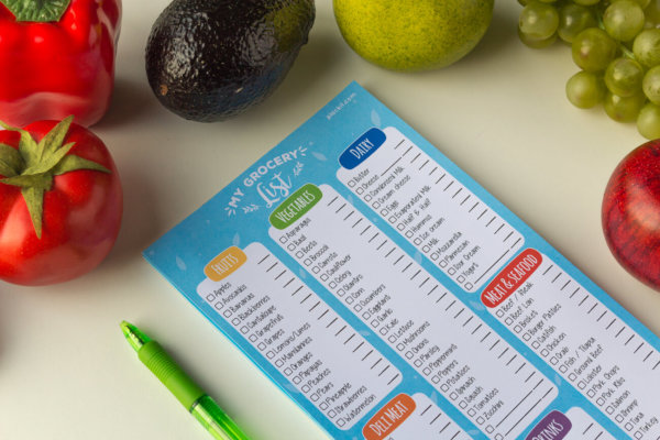 "Plackit - Grocery List Magnetic Notepad (5.5"" x 10.4"") - 50 sheets per pad (Printed in both sides)"
