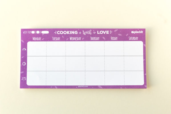 "Plackit - Meal Planner Magnetic Notepad (9.05"" x 4.33"") - 50 sheets per pad"