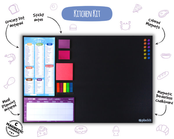 "Plackit - Home Command Center Kitchen Kit Planner (23.6"" x 15.7"") - Magnetic Borderless Chalkboard, Magnetic Grocery list Notepad, Magnetic Menu Notepad, Magnetic Sticky Notes, Magnets"