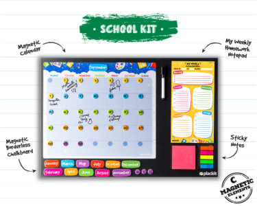 "Plackit - School Command Center Kit Planner ( 23.6"" x 15.7"" ) - Magnetic Borderless Chalkboard, Magnetic Calendar, Magnetic Homework Notepad, Magnetic Sticky Notes"