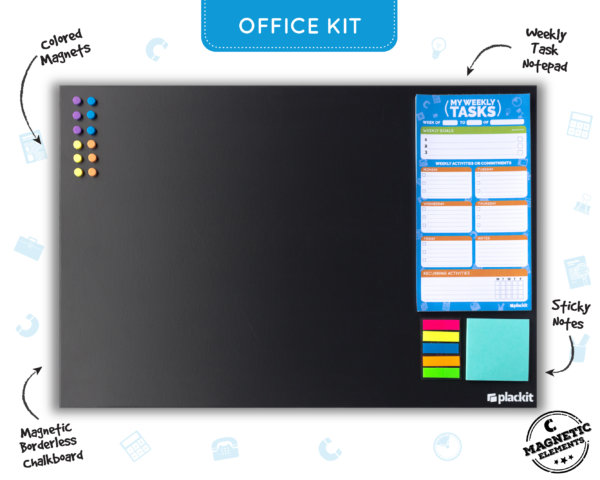 "Plackit - Office Command Center Kit Planner (23.6"" x 15.7"") - Magnetic Borderless Chalkboard, Magnetic Weekly Tasks Notepad, Magnetic Sticky Notes, Magnets"