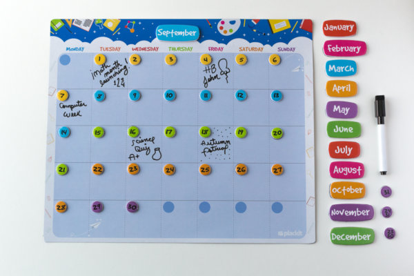 "Plackit - School Magnetic Dry Erase Monthly Calendar Set ( 14.96"" x 12.59"" ) - Plan and Organize Kids Activities"
