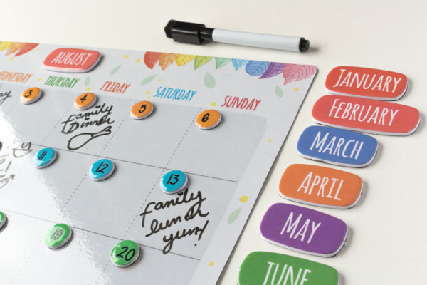 "Plackit - Home Magnetic Dry Erase Monthly Calendar Set ( 14.96"" x 12.59"" ) - Plan and Organize Activities …"
